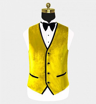 Yellow Velvet Tuxedo for Men | Three Pieces Slim Fit Prom Suits_2