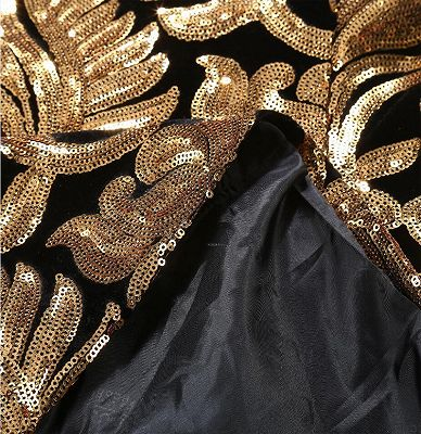 Black and Gold Blazer with Sequins | Cheap Slim Fit Prom Tuxedo_5