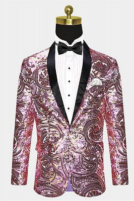 Shiny Sequins Men Suits for Prom | Pink Shawl Lapel Blazer Jacket_1