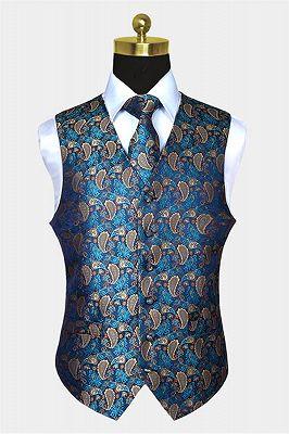 Teal Blue Paisley Mens Suit Prom Vest Set Online_1