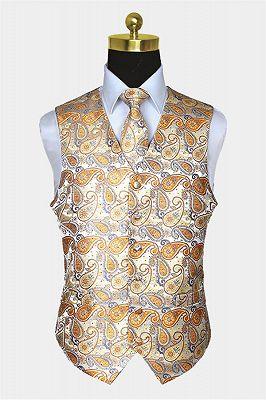 Cheap Gold Paisley Mens Dress Vest Set_1