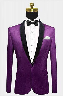 Simple Purple Velvet Men Suit | One Piece Mens Slim Suits_1