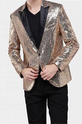 Sparkly Gold Sequin Tuxedo Blazer | Men Suits for Prom_2