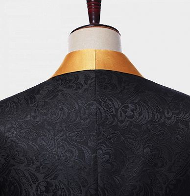 Black Jacquard Tuxedo with Gold Shawl Lapel | Custom Made Three Pieces Men Suits_4