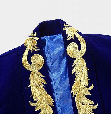 Royal Blue Blazer for Men | Gold Embroidered Lapel Velvet Jacket_3