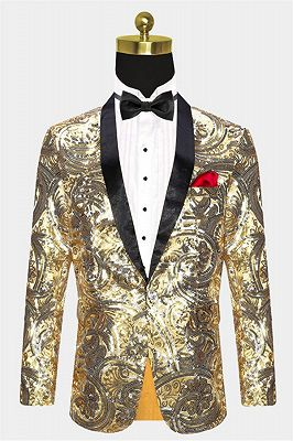 Gold Sequins Blazer with One Button | Cheap Prom Blazers for Men_1
