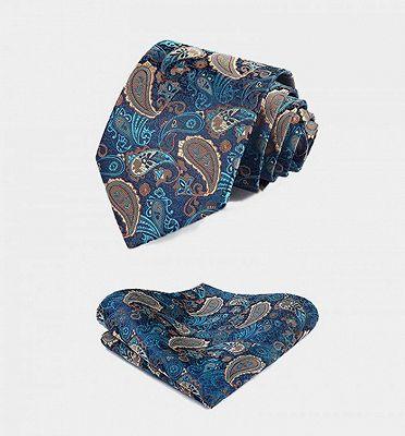 Teal Blue Paisley Mens Suit Prom Vest Set Online_4