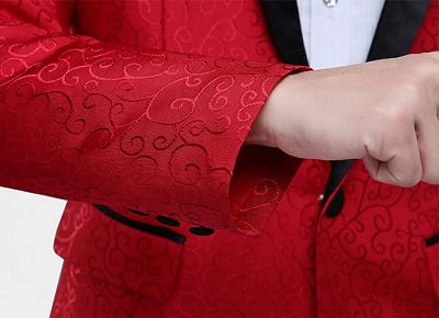 Red Jacquard Tuxedo Jacket Online   Glamorous Men Suits with One Button_5