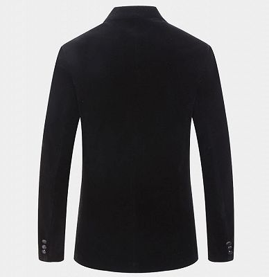 Black Velvet Men Suits Online | Custom Peak Lapel Blazer with One Button_2