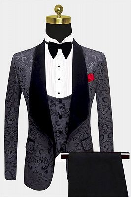 Tailored Black Jacquard Men Suits with 3 Pieces | Unique Dinner Suits for Prom_1