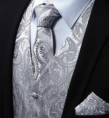 Silver Paisley Vest Set   Bespoke PromMens Vest_3