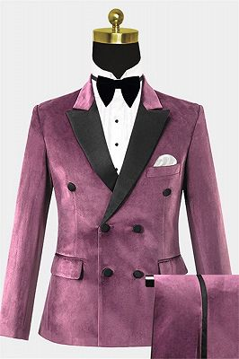 Mauve Velvet Tuxedo with 2 Pieces | Peak Lapel Double Breasted Best Suits for Men_1