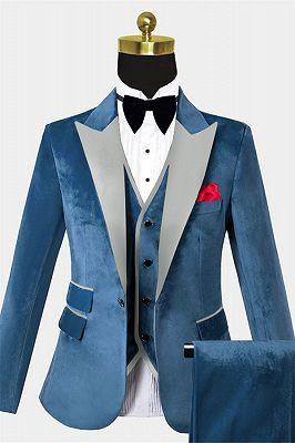 Cerulean Blue Velvet Tuxedo   Three Pieces Mens Skinny Fit Suits_1