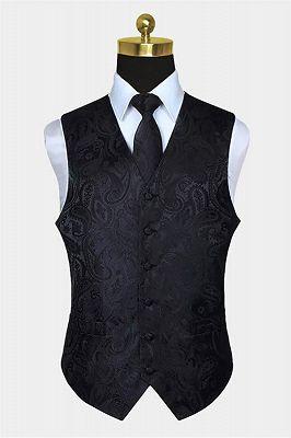 Black Paisley Mens Vest Set for Prom_1