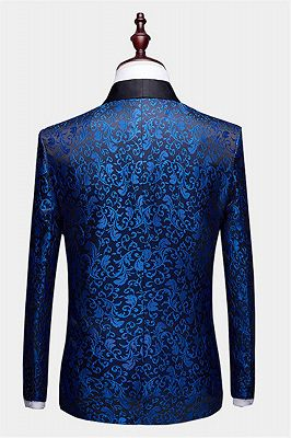 Blue Jacquard Tuxedo Jacket Online | Bespoke Slim Fit Men Suits for Prom_2