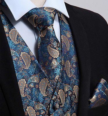 Teal Blue Paisley Mens Suit Prom Vest Set Online_3