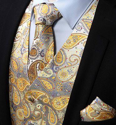 Cheap Gold Paisley Mens Dress Vest Set_3