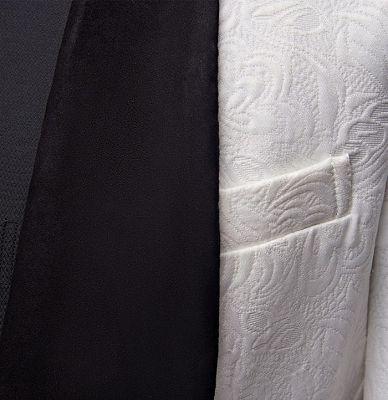 Floral White Men Suits with Black Lapel   Three Pieces Dinner Suits for Men_4