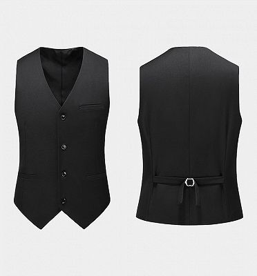 Modern Black Formal Men Suits | Business Three Pieces Slim Tuxedo Online_3