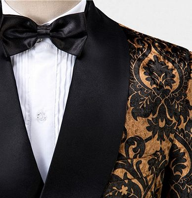 Tailored Gold Velvet Damask Tuxedo | Double Breasted Shawl Lapel Men suits for Prom_5