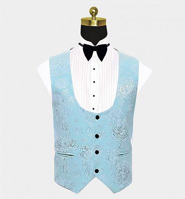 Floral Turquoise Tuxedo with Shawl Lapel | Tailored Three Pieces Prom Suits_3