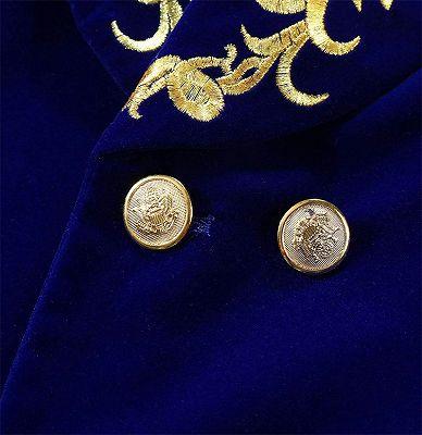 Royal Blue Blazer for Men | Gold Embroidered Lapel Velvet Jacket_4