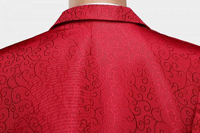 Red Jacquard Tuxedo Jacket Online   Glamorous Men Suits with One Button_6
