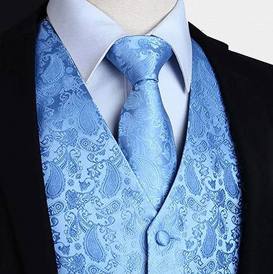Light Blue Party Prom Paisley Mens Waistcoat with Tie Set_3