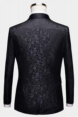 Black Jacquard Dinner Suits for Men | Formal Shawl Lapel One Button Blazer_2