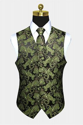 Stylish Olive Green Paisley Mens Vest Set_1
