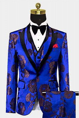 Bronze Royal Blue Floral Tuxedo Online | Tailored Three Pieces Men Suits_1