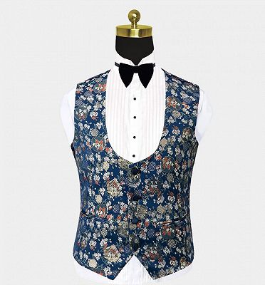 Double Breasted Navy Blue Men Suits for Prom | Floral Tuxedo with 3 Pieces_3