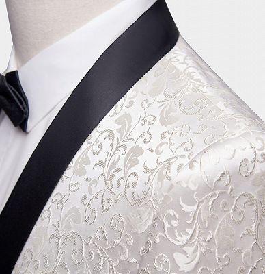 White Jacqard Wedding Men Suits | Slim Fit Dinner Blazer_3