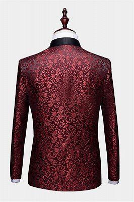 Burgundy Paisley Tuxedo Jacket | Glamorous Jacquard Blazer for Prom_2