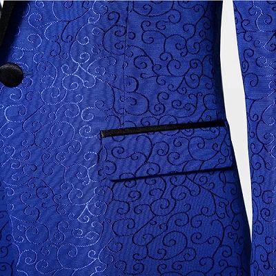 Royal Blue Jacquard Tuxedo Jacket | Stylish Slim Fit Blazer for Men_6
