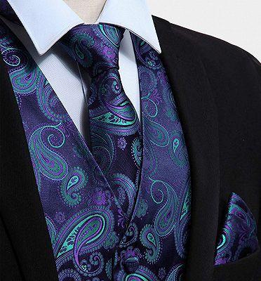 Turquoise Paisley Vest Set for Sale_3