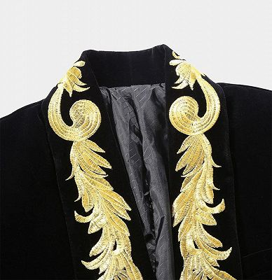 Black Velvet One Piece Jacket | Gold Embroidered Double Breasted Tuxedo_3