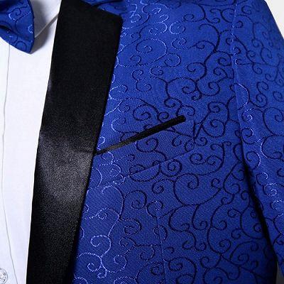 Royal Blue Jacquard Tuxedo Jacket | Stylish Slim Fit Blazer for Men_4