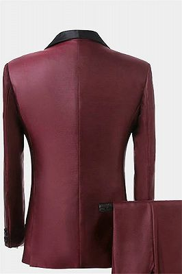 Fashion Burguny Three Pieces Men Suits   Black Shawl Lapel Tuxedo Online_2