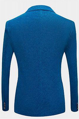 Glitter Baby Blue Peak Lapel Blazer | Unique Sequin Men Suits Cheap Online_2
