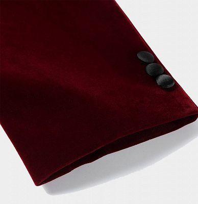 Burgundy Velvet Blazer Jacket | Two Pieces Shawl Lapel Men Suits_4