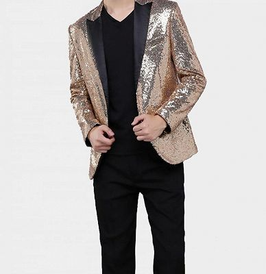 Sparkly Gold Sequin Tuxedo Blazer | Men Suits for Prom_3