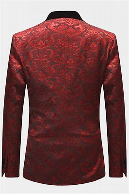 Damask Red Floral Prom Suits | Three Pieces Shawl Lapel Tuxedo Online_2