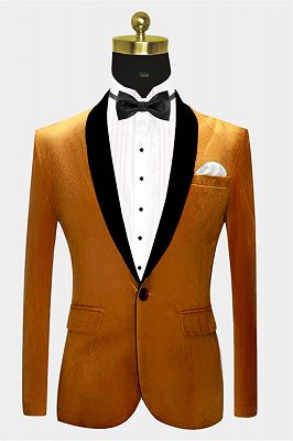 Gold Velvet Tuxedo Jacket with One Button | Classic Suit Sizes for Men_1