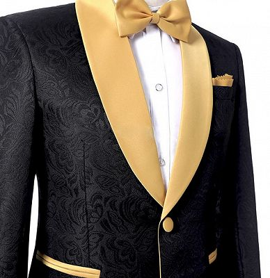 Black Two Pieces Prom Suits | Jacquard Tuxedo with One Button_3
