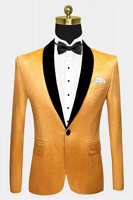 Yellow Velvet Blazer Suits | Slim Fit One Button Prom Tuxedo_1