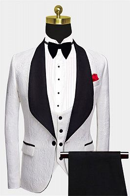 Floral White Men Suits with Black Lapel | Three Pieces Dinner Suits for Men_1