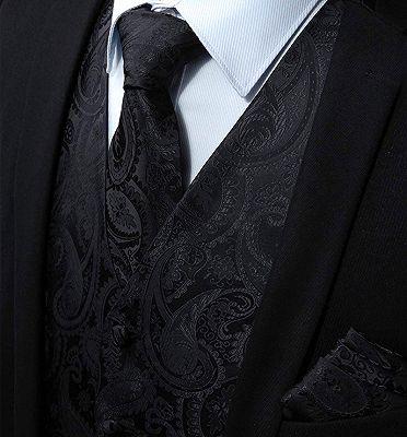 Black Paisley Mens Vest Set for Prom_3
