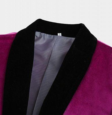 Magenta Pink Velvet Tuxedo Jacket | One Piece Blazer for Men_3