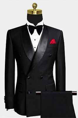 Black Double Breasted Wedding Tuxedo | Luxury Business Men Suits with 2 Pieces_1